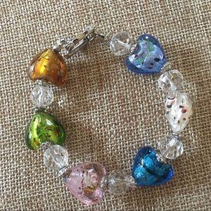 Vintage Venetian glass heart bracelet